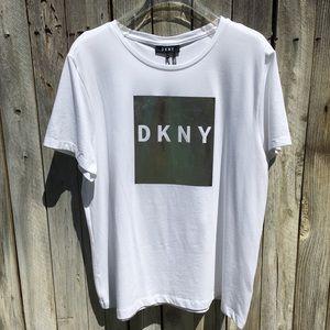 NWT DKNY Living Linear Logo Tee White XL